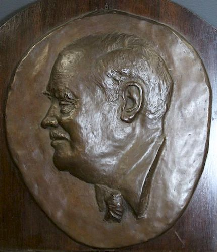 ILLEGIBLY Signed. Bronze. Bust in Relief.