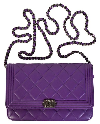 2e895cf8a3b9 Purple CHANEL 'Le Boy' Leather Wallet on Chain by Abington Auction ...