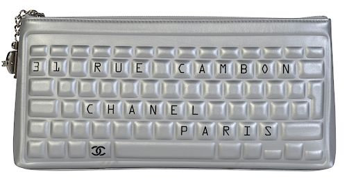cda1ca290260f4 Unique Metallic Calfskin Leather CHANEL Clutch by Abington Auction ...