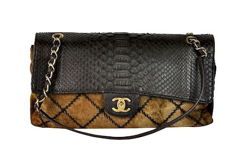 c61fab1fcff8 Python and Pony Hair CHANEL Flap Bag by Abington Auction Gallery ...