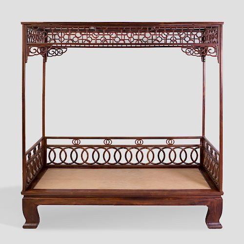Chinese Carved Hardwood Bed