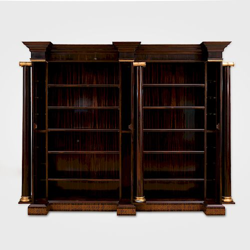 Neoclassical Style Macassar Ebony and Parcel-Gilt Bookcase, of Recent Manufacture