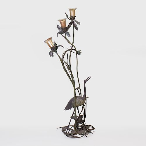 Art Nouveau Iridescent Patinated-Bronze Figural Floor Lamp with Iridescent Glass Shades