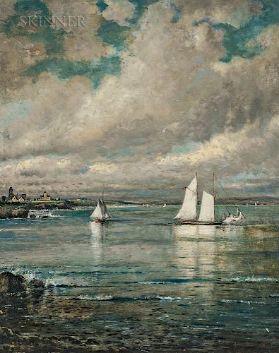 Edmund Darch Lewis (American, 1835-1910)  Cliffs at Newport