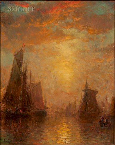 George Herbert McCord (American, 1848-1909)  Setting Sail at Sunset