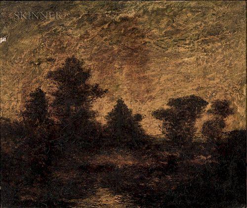Attributed to Ralph Albert Blakelock (American, 1847-1919)  Landscape at Dusk