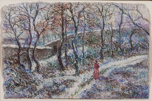 Hugues Claude Pissarro (French, b. 1935)  Along the Snowy Path
