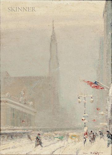 Johann Berthelsen (American, 1883-1972)  Forty-second Street in Snow