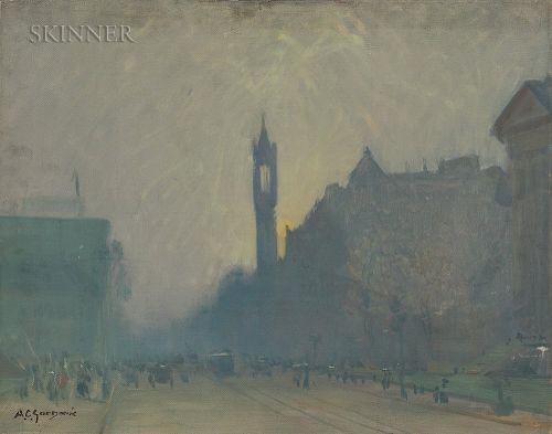 Arthur Clifton Goodwin (American, 1866-1929)  Sunset on Boylston Street, Boston
