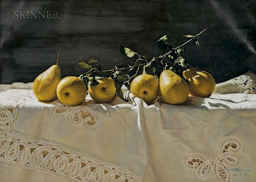 Yingzhao Liu (Chinese, b. 1956)  Still Life with Pears