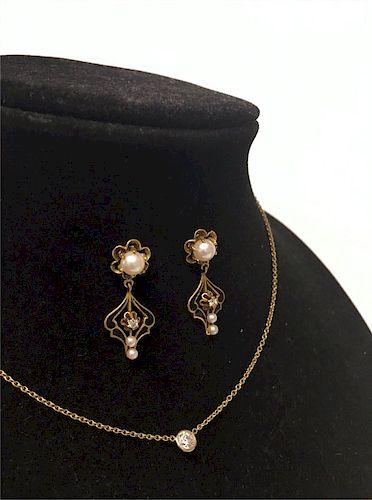 "16"" GOLD CHAIN W/ DIAMOND & PAIR  OF DIAM. & PEARL"