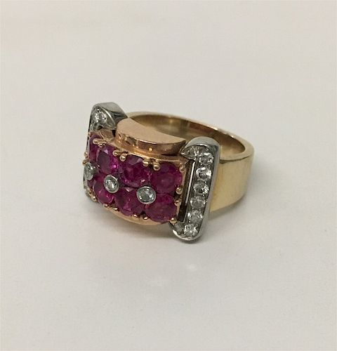 VINTAGE RUBY & DIAMOND RING IN 14 KT GOLD