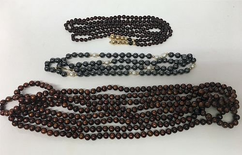 """3 STRANDS OF BEADS: 100"""" COLORED PEARLS, GARNET &"""