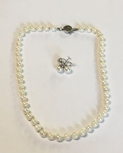 "16"" STRAND OF 7MM PEARLS & PR. OF 8 1/2MM PEARL"