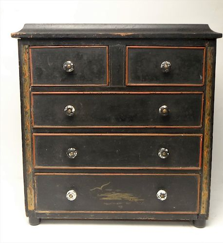 PAINT DECORATED MINIATURE CHEST W/ CHINOISE DECOR.