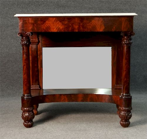 CLASSICALLY CARVED MAHOGANY PIER TABLE W/ MARBLE