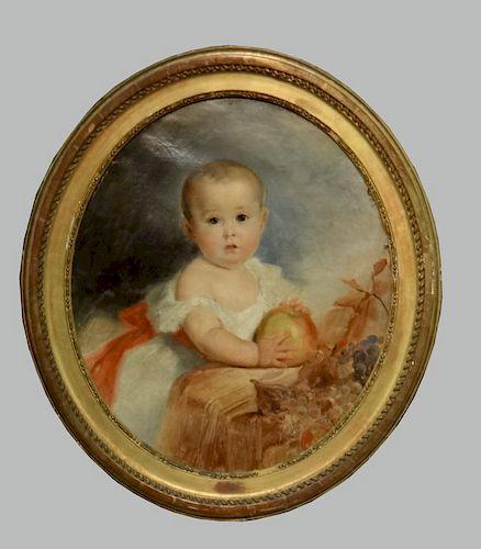 OVAL PORTRAIT OF AN INTELLIGENT CHILD W/ APPLE