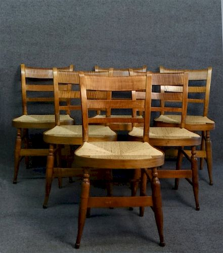 SET OF 6 TIGER MAPLE SHERATON FANCY CHAIRS