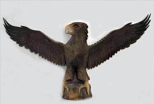 """FOLK ART CARVED EAGLE 48"""" WING SPAN"""