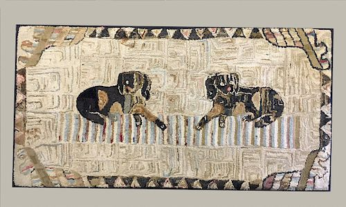 19THC. FINELY HOOKED RUG OF TWO DOGS MOUNTED