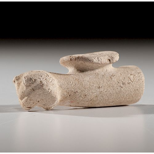 Limestone Owl Effigy Disc Pipe, From the Collection of Jan Sorgenfrei, Ohio