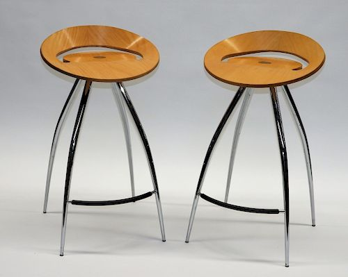 Astonishing Pr Mcm Italian Magis Lyra Chrome Bar Stools By Bruneau Co Bralicious Painted Fabric Chair Ideas Braliciousco
