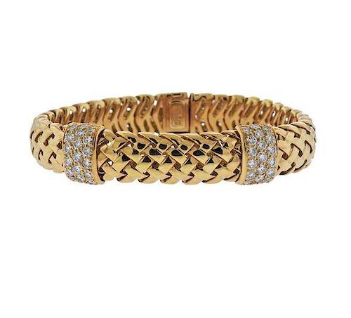 ab3837bcc Tiffany & Co 18K Gold Diamond Braided Bracelet by Hampton Estate ...