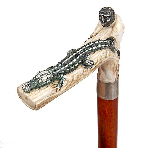 21. Jacksonville Style Stag Alligator Carving-