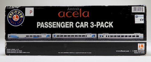 Lionel Amtrak Acela Passenger Car 3 Pack Train Set