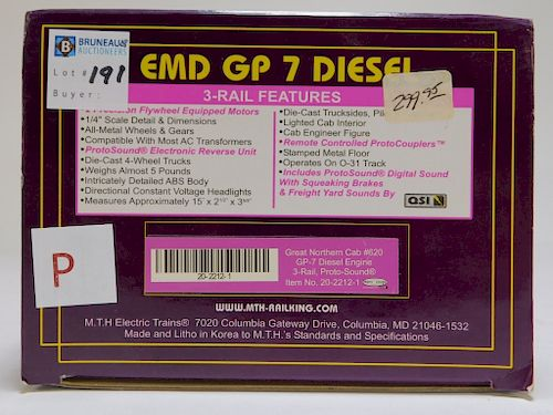 MTH Great Northern EMD GP-7 Diesel Engine Train