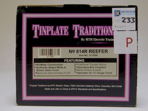 MTH Tinplate Traditions White 814R Reefer Train