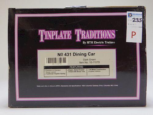 MTH Tinplate Traditions Dark Green 431 Dining Car