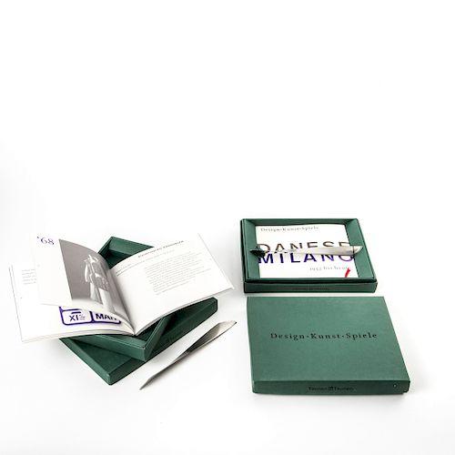 Catalogue Box 'Design-Kunst-Spiele' with paper knife 'Ameland' (1961/62), 1989