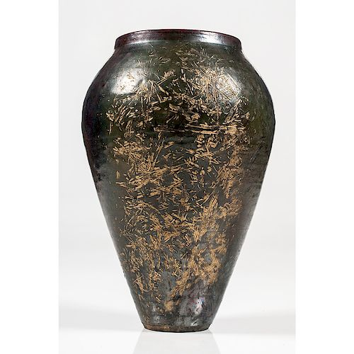 Japanese Ceramic Vase With Etched Bamboo Design By Cowans Auctions