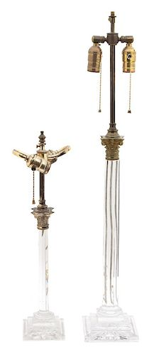 Two Neoclassical Style Gilt Bronze Mounted Glass Columnar Table Lamps Height of taller 32 inches.