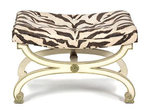 A Directoire Style Painted Curule-Form Tabouret Height 18 x width 27 x depth 18 inches.