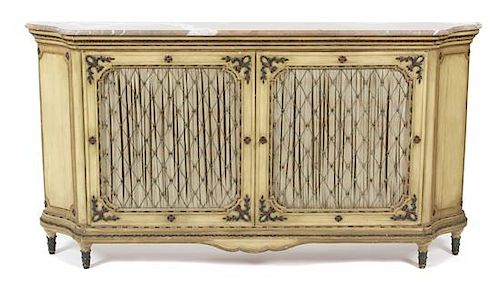 An Italian Painted Marble Top Console Cabinet Height 39 x width 73 x depth 10 3/4 inches.