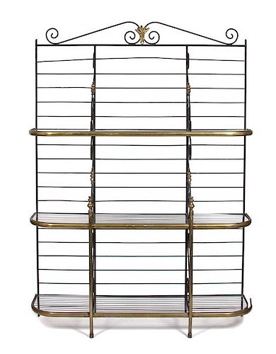 A French Brass and Steel Baker's Rack Height 86 x width 60 x depth 18 inches.