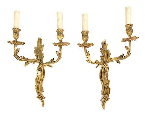 A Pair of Louis XV Style Gilt Bronze Two-Light Wall Sconces Height 16 1/2 inches.