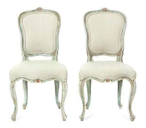 A Group of Six Painted Louis XV Chairs Height 36 inches.