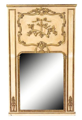 A Louis XVI Style Painted and Parcel Gilt Trumeau Mirror Height 60 3/4 x 37 inches.