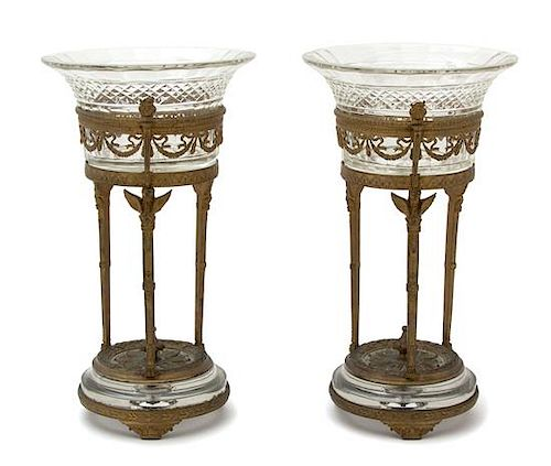 A Pair of French Empire Style Gilt Bronze and Colorless Glass Compotes Height 9 3/4 x diameter 5 inches.
