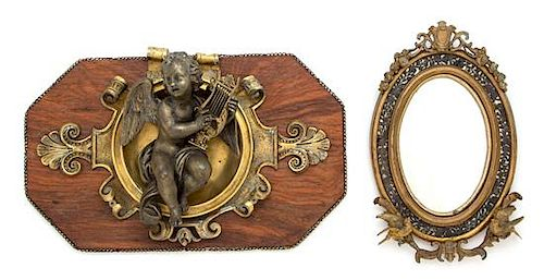 Two French Gilt Bronze Articles Height of mirror 8 1/2 inches.