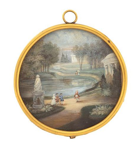 A Continental Painted Miniature Diameter 3 inches.