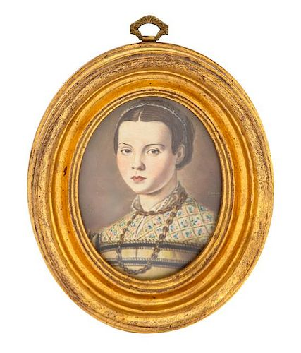 An Italian Watercolor Miniature in Giltwood Frame 2 7/8 x 2 1/4 inches.