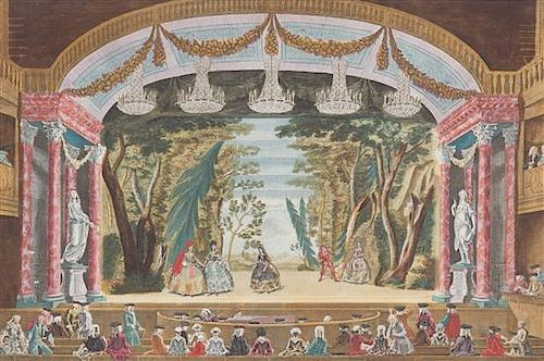 A Hand-Colored Engraving Depicting a Theater Scene Framed 12 x 15 inches.