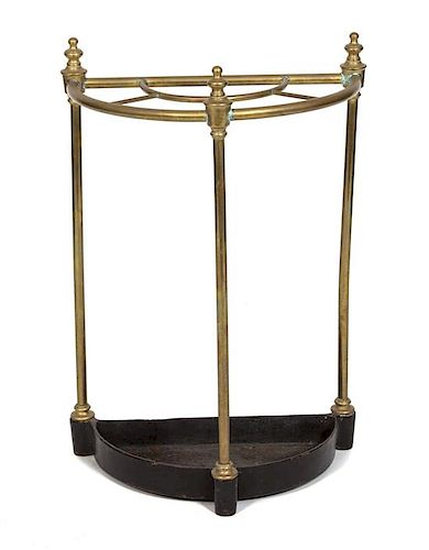 A Regency Style Brass Tool Stand Height 25 1/2 inches.