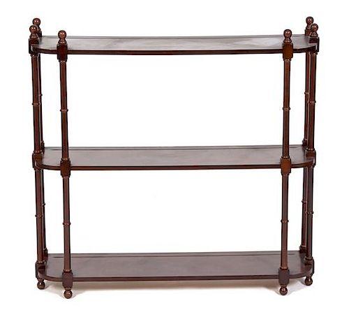 A Regency Style Mahogany Wall Shelf Height 30 x width 30 x depth 8 inches.