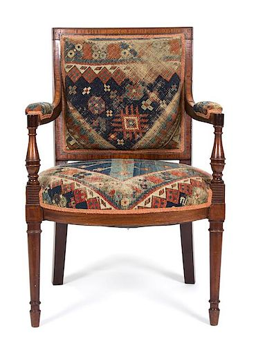 A Regency Inlaid Mahogany Open Armchair Height 33 1/4 inches.