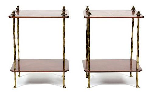 A Pair of Regency Style Brown and Parcel Gilt Lacquer Two-Tier Side Tables Height 24 x width 18 x depth 14 1/2 inches.